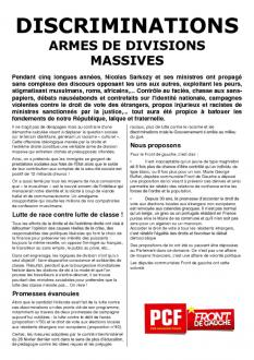 TRACT - DISCRIMINATIONS ARMES DE DIVISIONS MASSIVES